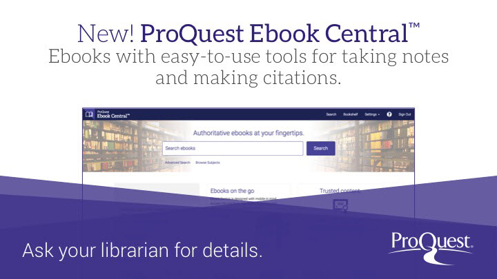 Now you have access to Proquest eBook Central